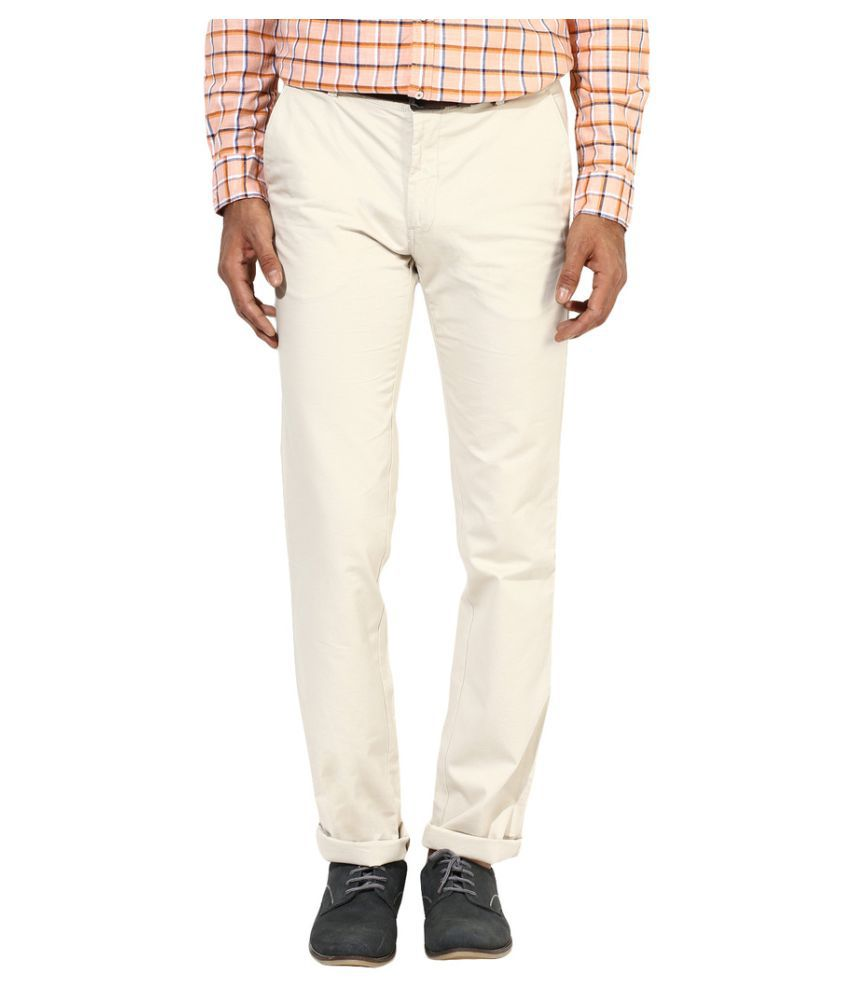 London Bridge Off White Slim -Fit Flat Trousers