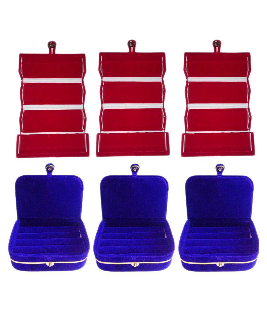 Abhinidi combo deal 3pc red earing folder & 3pc blue ring vanity box