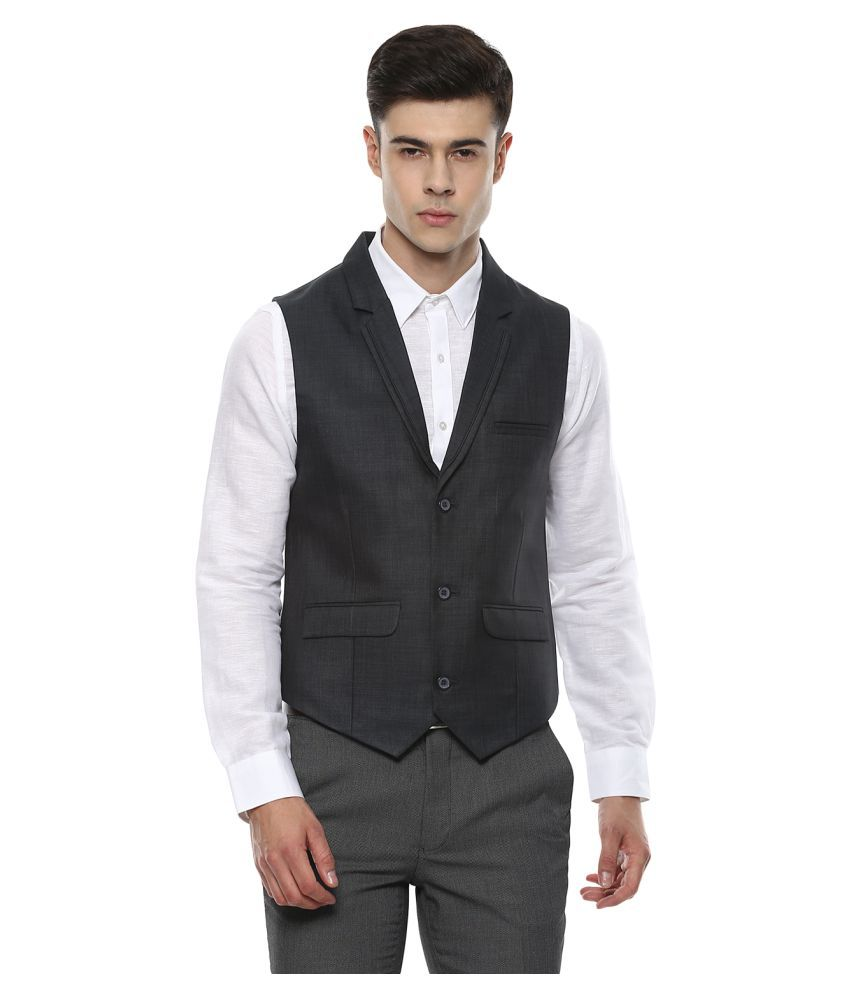 London Bridge Grey Solid Formal Waistcoats