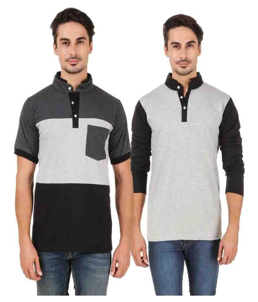 Aurelio Marco Multi High Neck T-Shirt Pack of 2