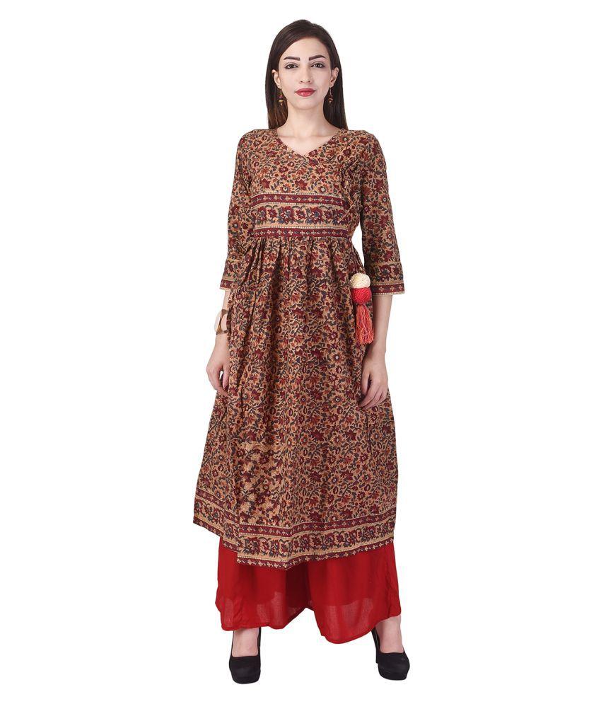 Mehatva Multicoloured Cotton A-line Stitched Suit