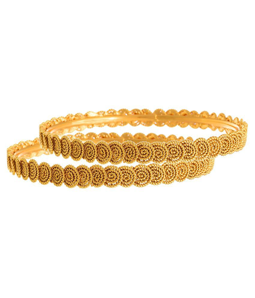 85f1e3f8035bb JFL- Traditional Ethnic One Gram Gold Plated Spiral Designer Bangles for  Women With Free Crystal Pendant Set (Blue)