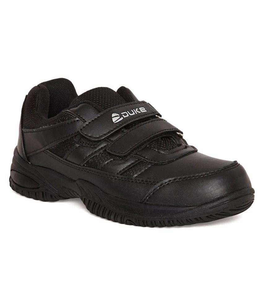 Duke Unisex Black Synthetic School Shoes