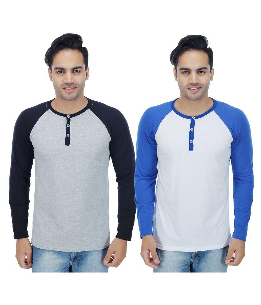 Rakshita's Collection Multi Henley T-Shirt Pack of 2