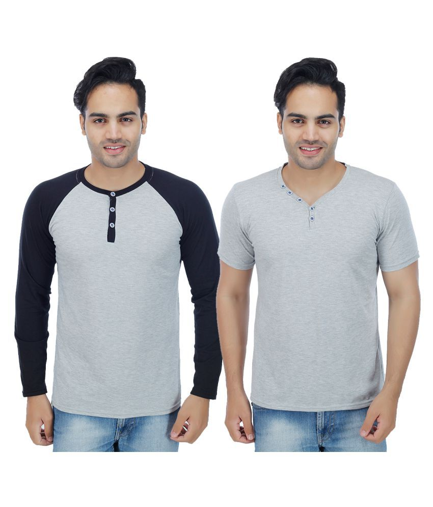 Candy House Grey Henley T-Shirt Pack of 2