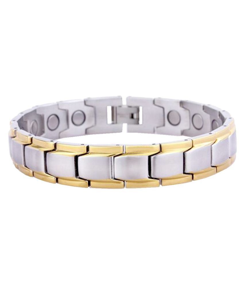 Shiv Jagdamba Magnetic Therapy Dual Plated 12mm Thickness Gold and Silver Stainless Steel Link Bracelet For Men And Boys