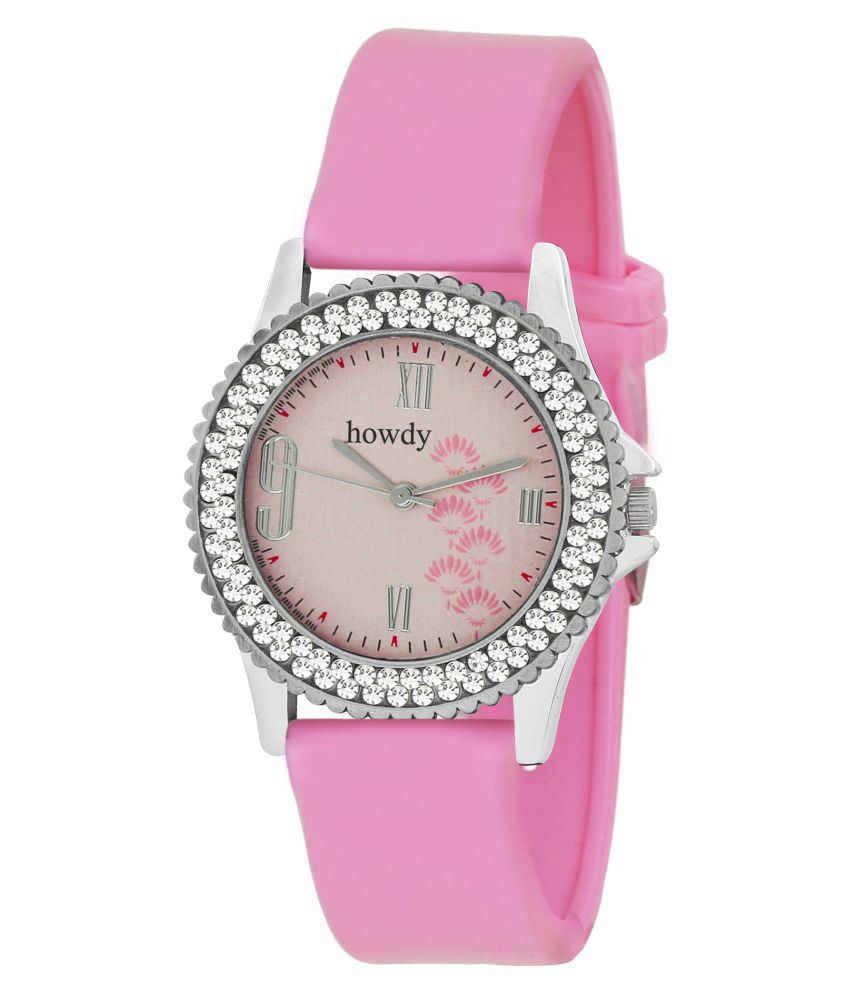 Howdy Crystal Studded Pink Dial Analog Watch With Pink Silicone Strap
