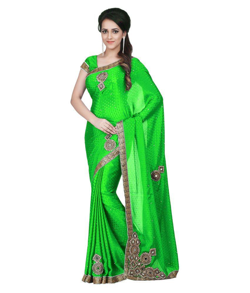 Zofey Bollywood Designer SareeS Green Chiffon Saree