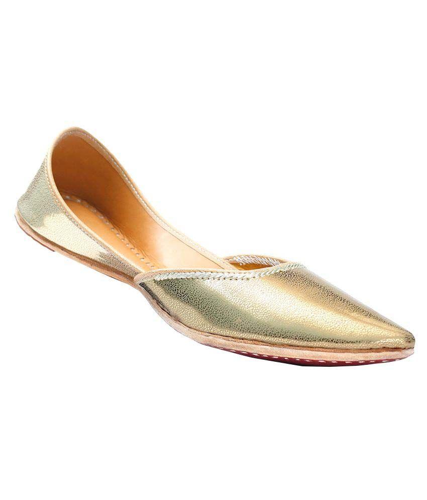 Bon Fedora Gold Flat Ethnic Footwear