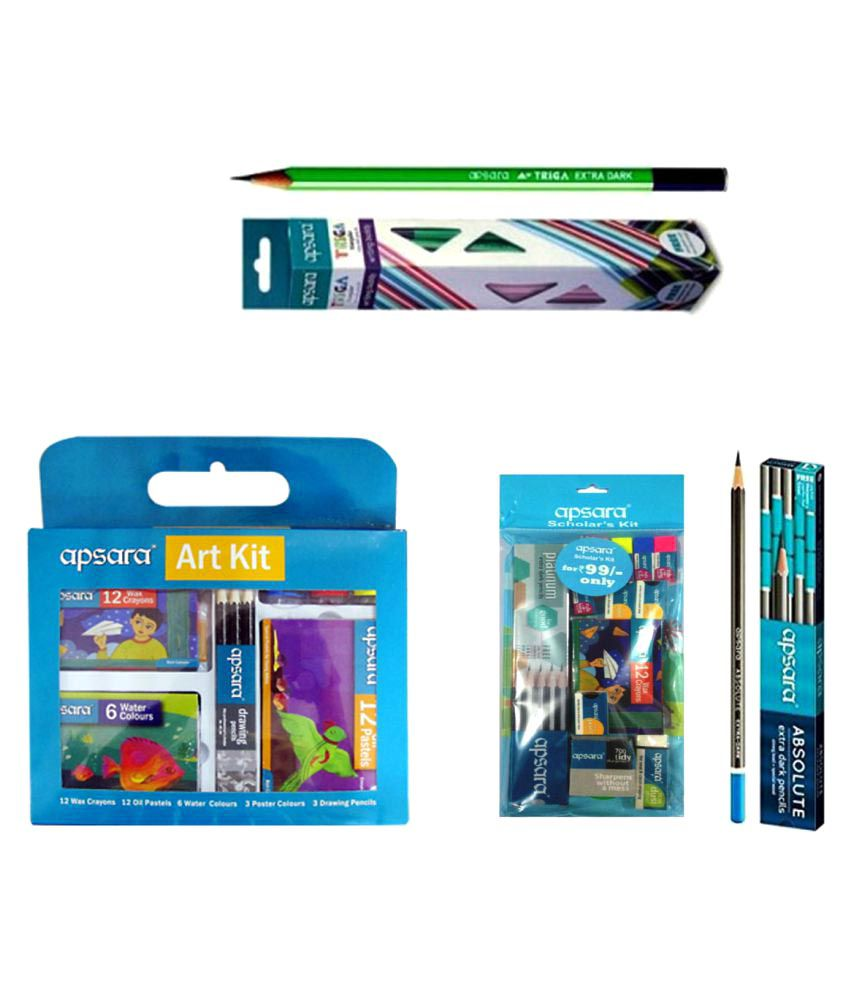 Compare Price To Wall Painting Kit: Combo Pack Of Apsara Absolute Pencil + Apsara Triga Pencil
