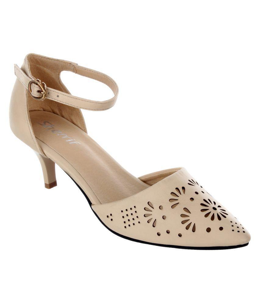 e4c82f9eaef Sherrif Shoes Beige Kitten Heels Price in India- Buy Sherrif Shoes Beige Kitten  Heels Online at Snapdeal