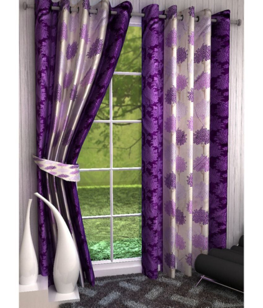 Akshaan Texo Fab Set of 2 Window Eyelet Curtains Floral Multi Color