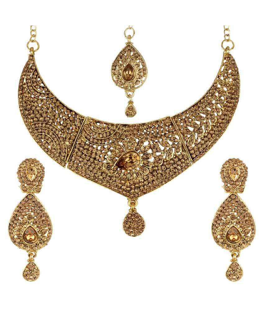 Penny Jewels Alloy Pleasant Traditional Antique Simple Designer Bridal Necklace Set For Women & Girls