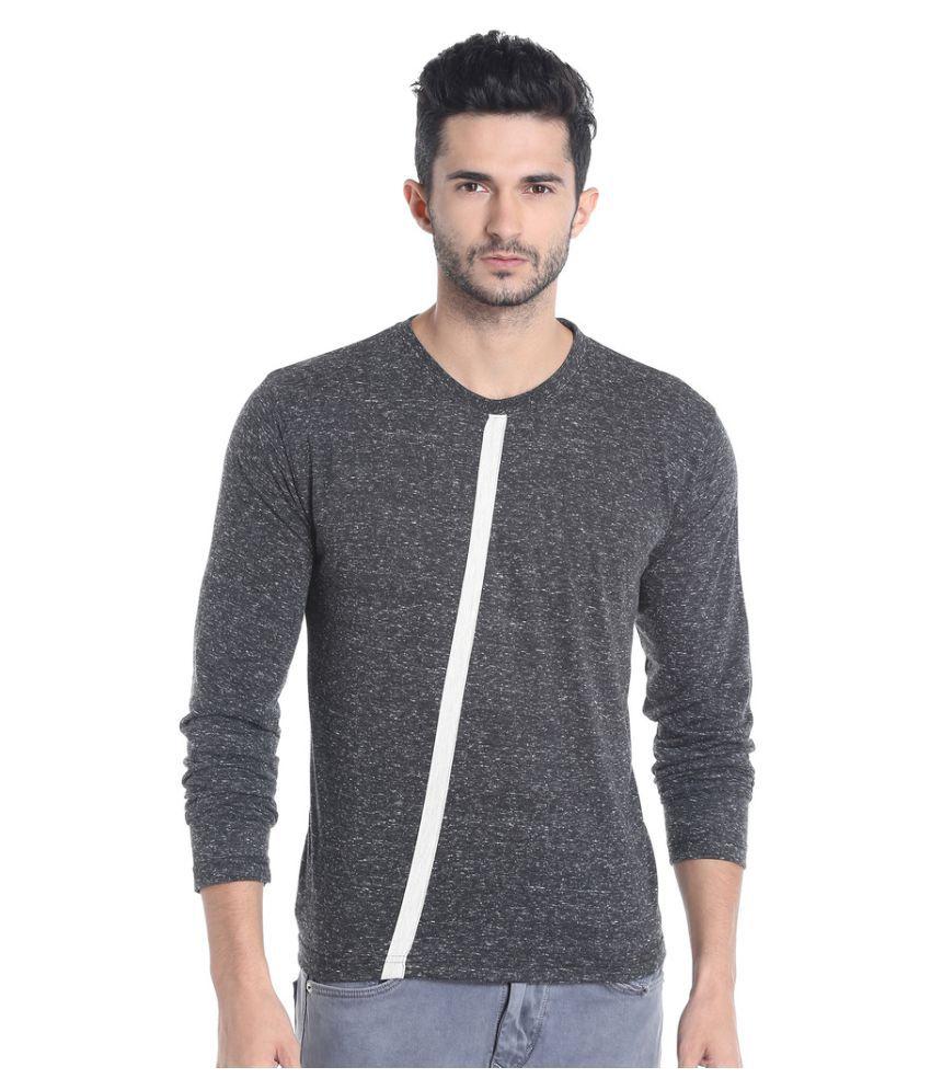 Campus Sutra Grey Round T-Shirt
