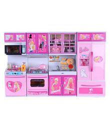 Param Barbie Dream house Kitchen Set Kids Luxury Battery Operated Kitchen Super Set Toy 4 Pcs (Large)