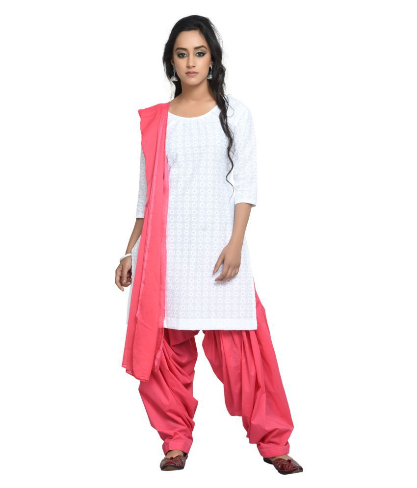 Aavaya Fashion White Cotton Straight Stitched Suit