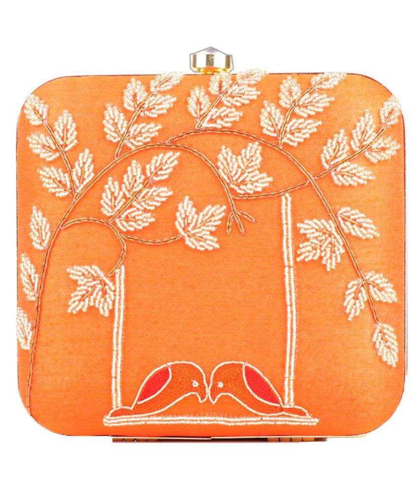 Fashinos Orange Silk Box Clutch