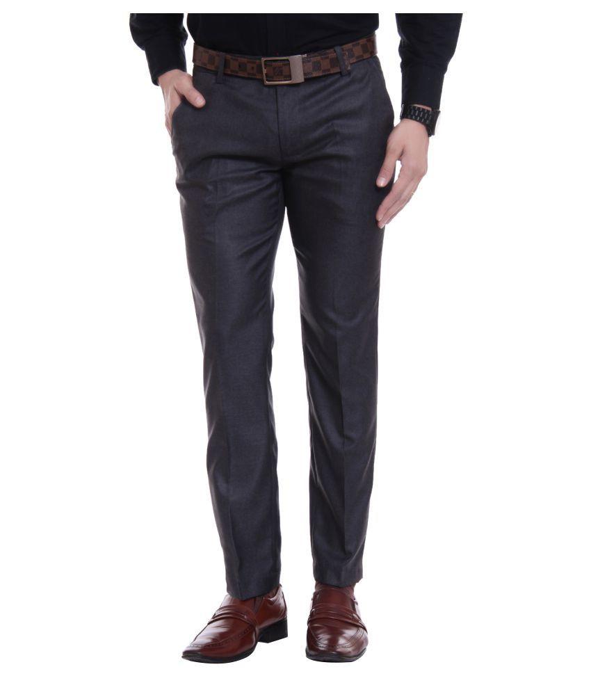 Singham Grey Regular -Fit Flat Trousers