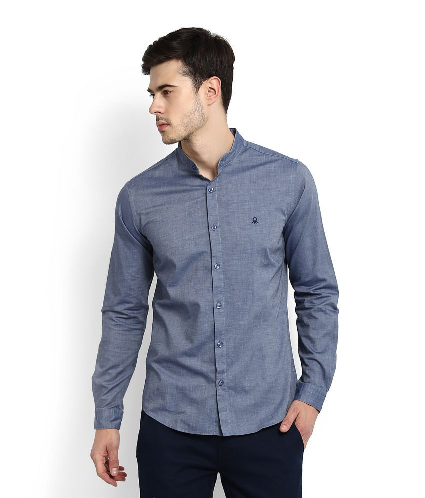 United Colors of Benetton Blue Casual Slim Fit Shirt