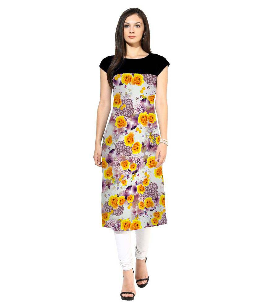 Meera Creations Multicoloured Crepe Straight Kurti