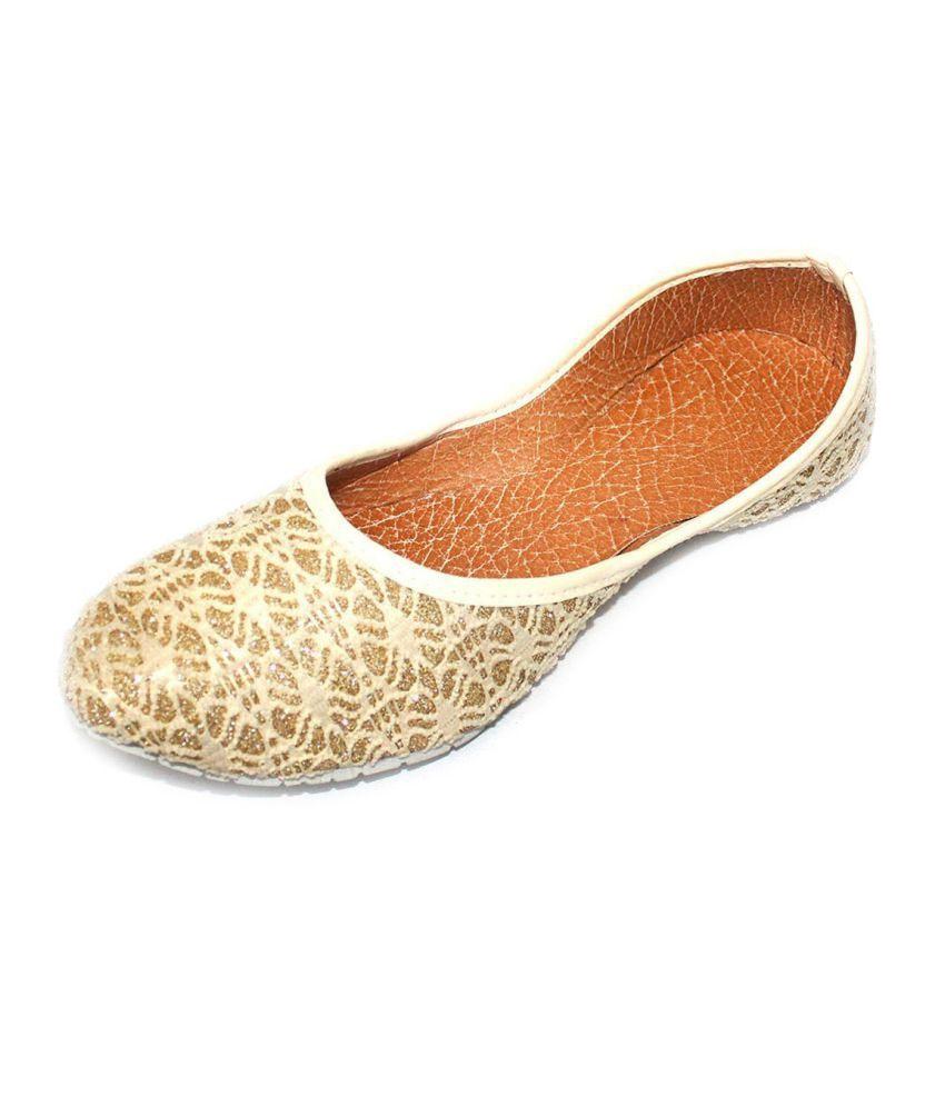 Jaipuri Shop Gold Flat Ethnic Footwear