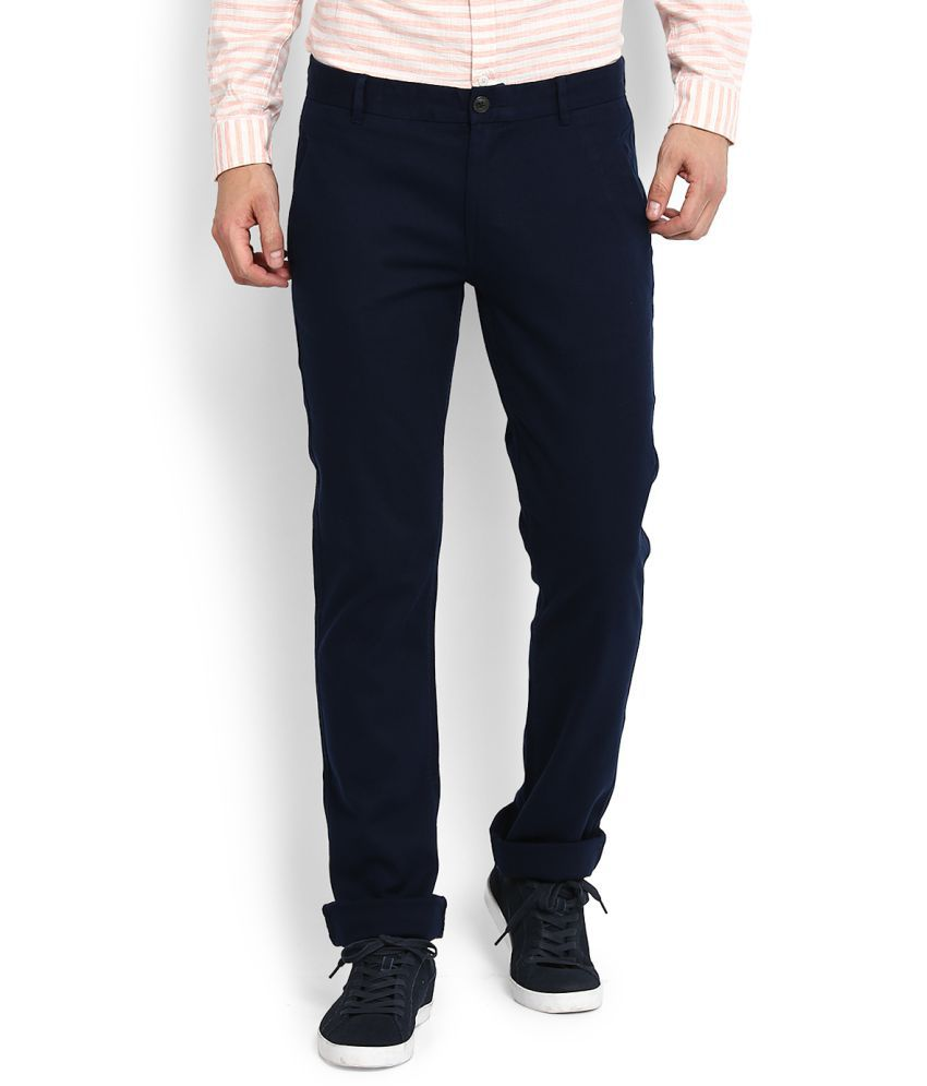 United Colors of Benetton Blue Slim -Fit Flat Trousers