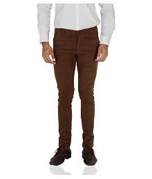 Stallion Cotton Clothing Brown Regular -Fit Flat Chinos