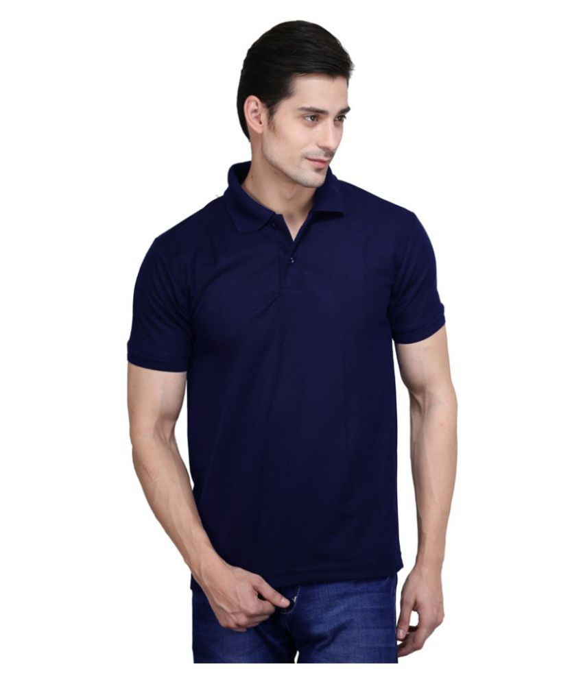 M.V. Tees Navy Cotton Blend Polo T-Shirt