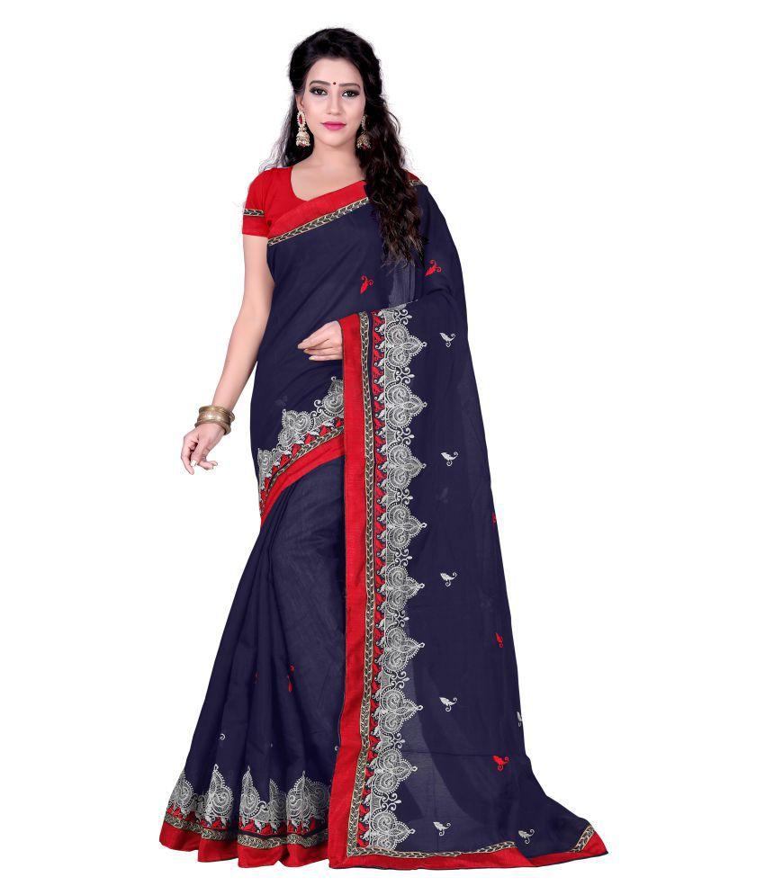 Pari Designer Blue and Grey Chanderi Saree