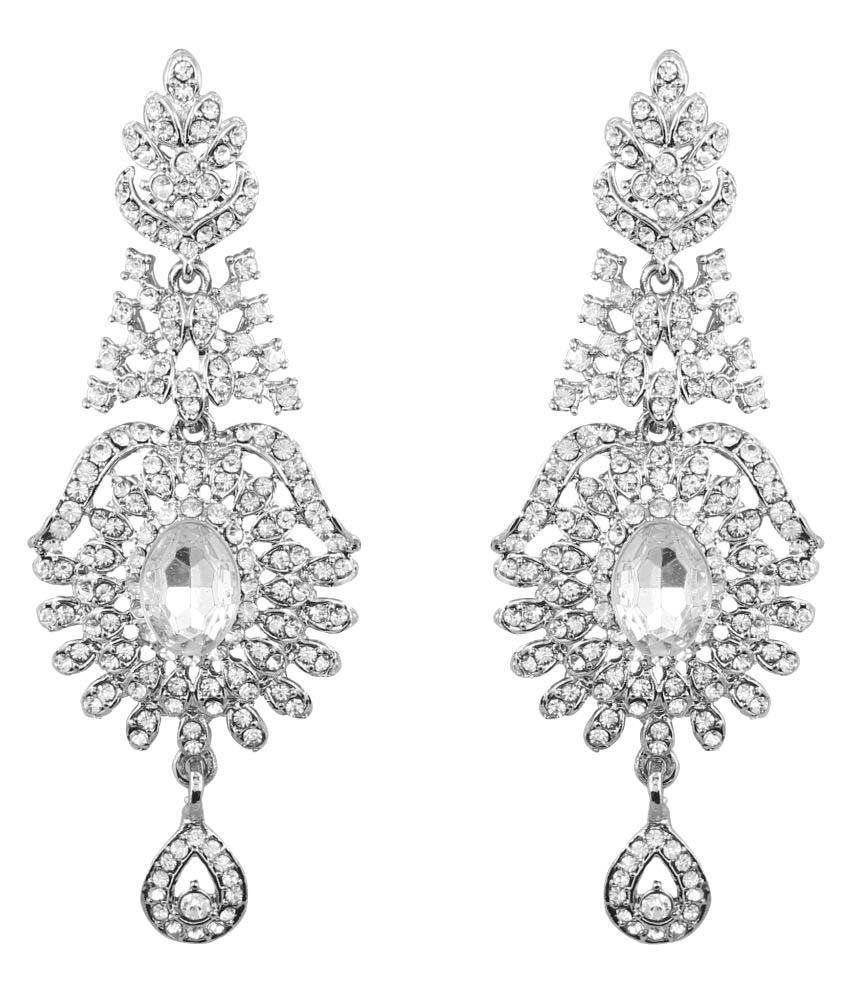 Touchstone Indian bollywood Victorian inspired white crystals designer jewelry chandelier earrings for women in antique gold tone