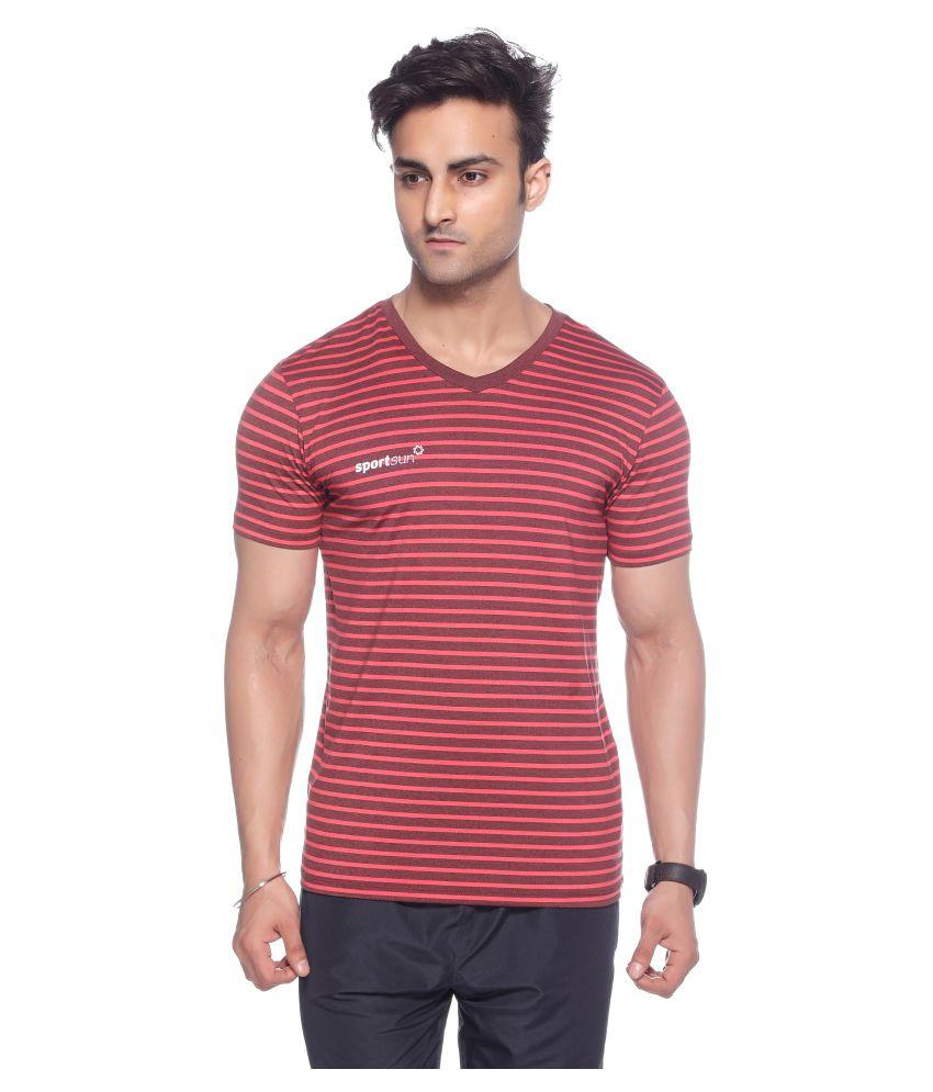 Sport Sun Red V-Neck T-Shirt