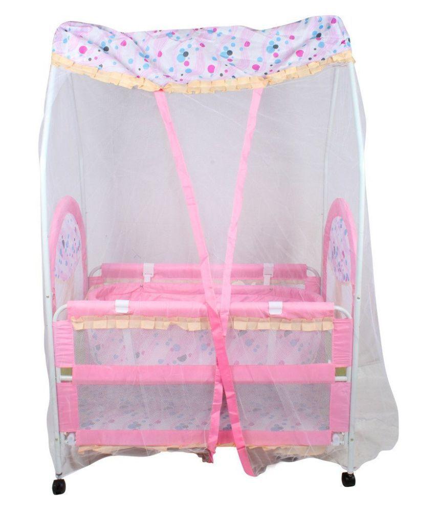 Baybee NapTime Crib N Cradle (Pink)