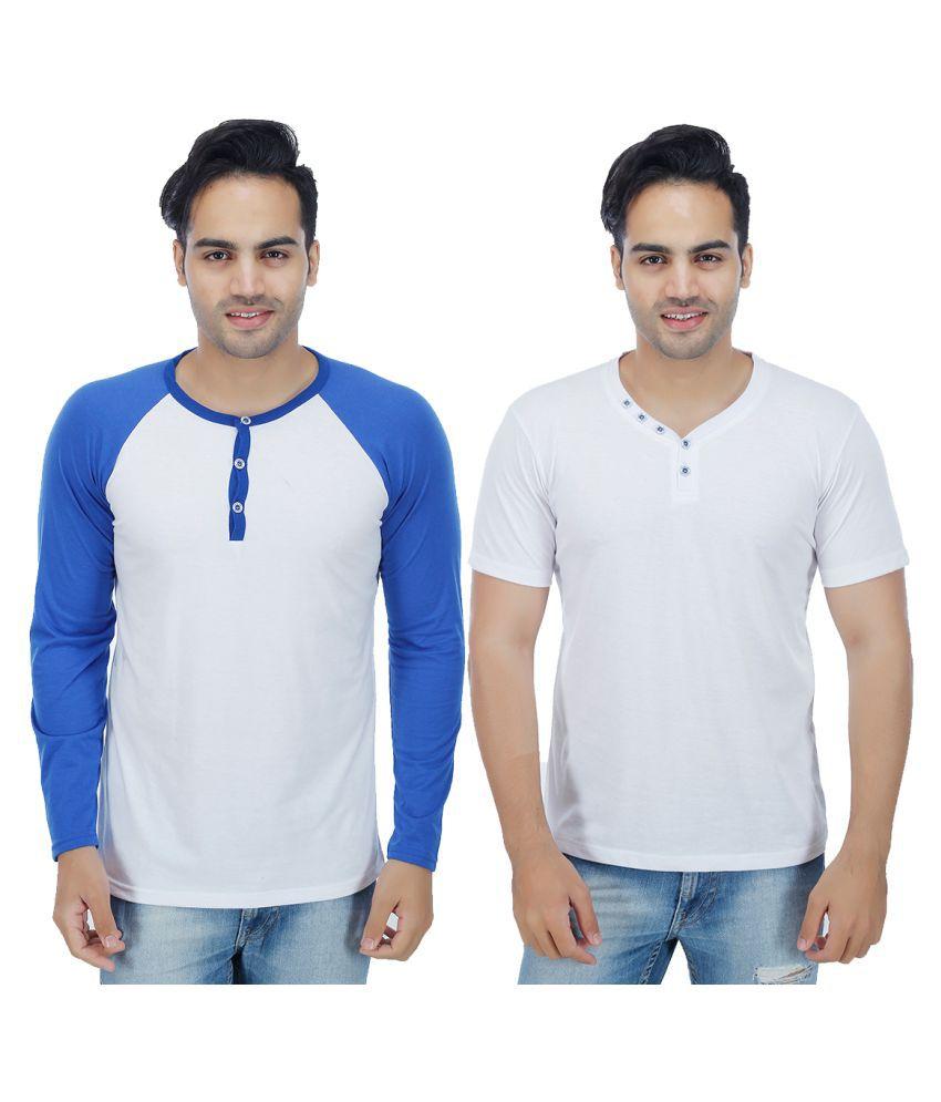 Sanvi Traders White Henley T-Shirt Pack of 2