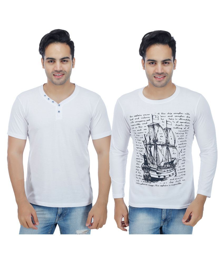 Sanvi Traders White Round T-Shirt Pack of 2
