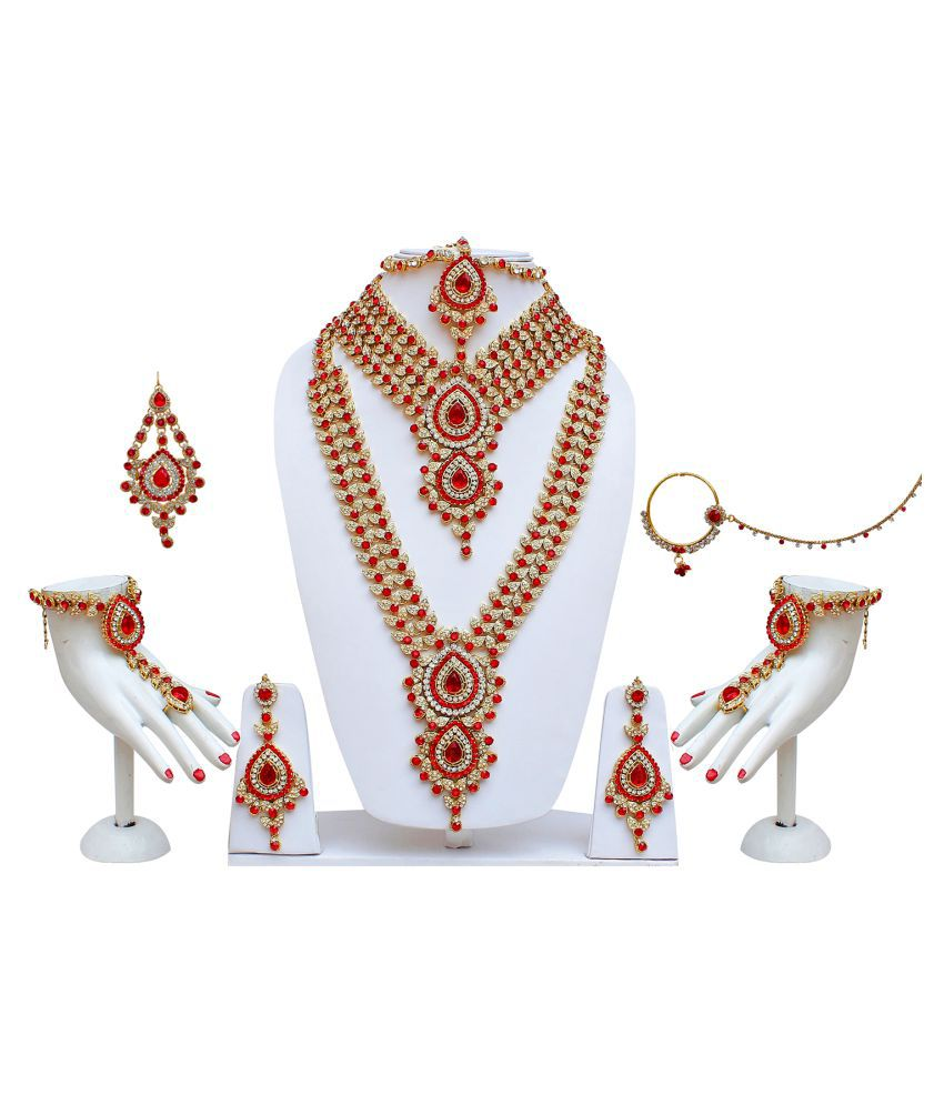 Lucky Jewellery for bride Red Alloy CZ Stone Bridal Necklace Wedding Jewellery Set 8 Pcs.