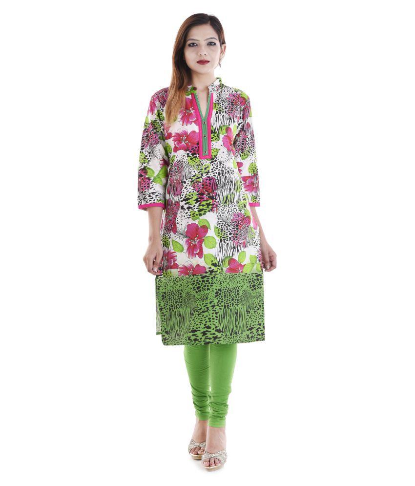 Jewel Fab Art Multicoloured Cotton Straight Kurti