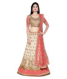 Aasvaa Beige Bangalore Silk A-line Semi Stitched Lehenga