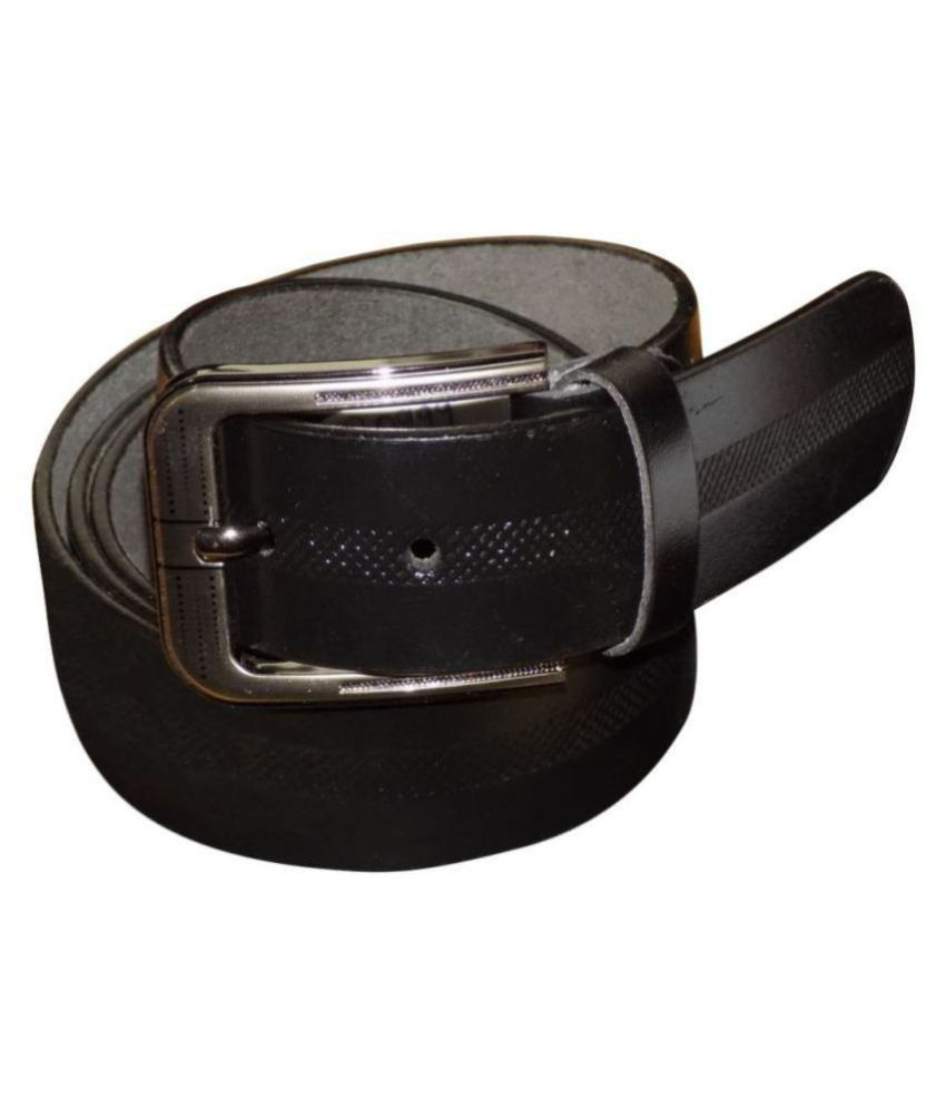 Kan Black Leather Formal Belts