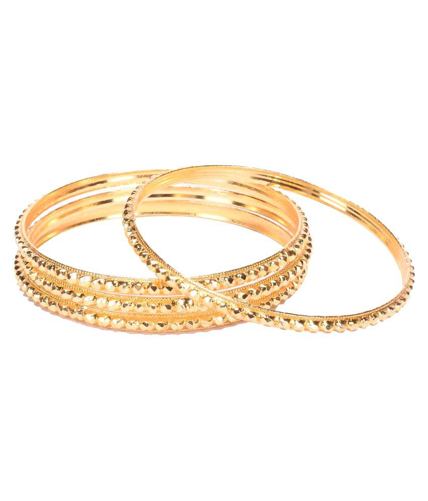 Manikya CITYGOLD Gold Colored Copper With 24 Carat Micro Gold Plated Guaranteed Pack of 4 Bangles Size (2.4)