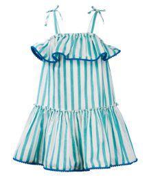The Cranberry Club Green Stripes Sun Dress