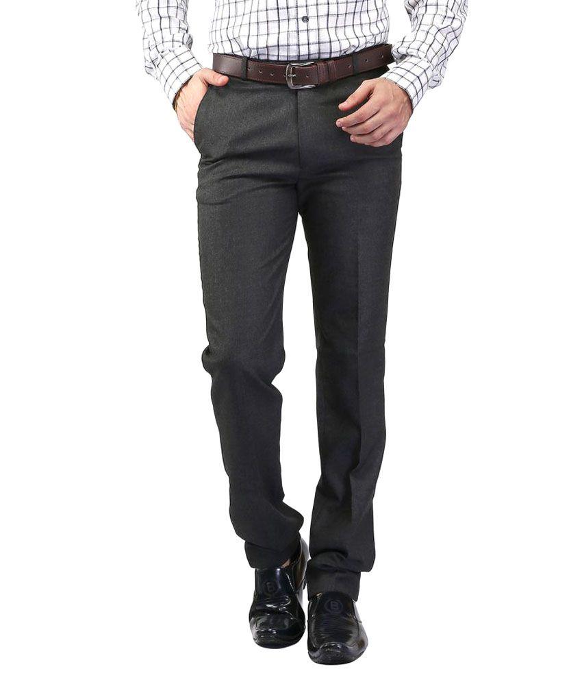 Strada Moda Grey Regular -Fit Flat Trousers