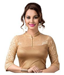 RAJA Gold Net Readymade without Pad Blouse