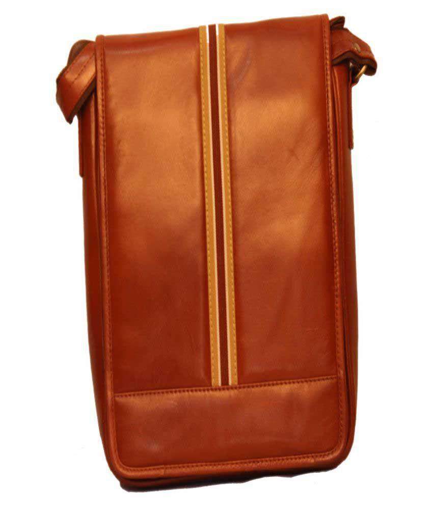 ALB Tan Leather Office Messenger Bag