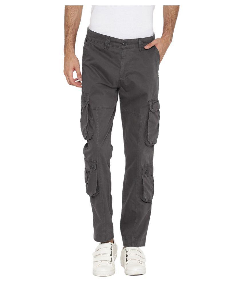Sports 52 Wear Grey Regular -Fit Flat Cargos