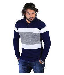 Vivaan Designer Blue Regular Fit Polo T Shirt