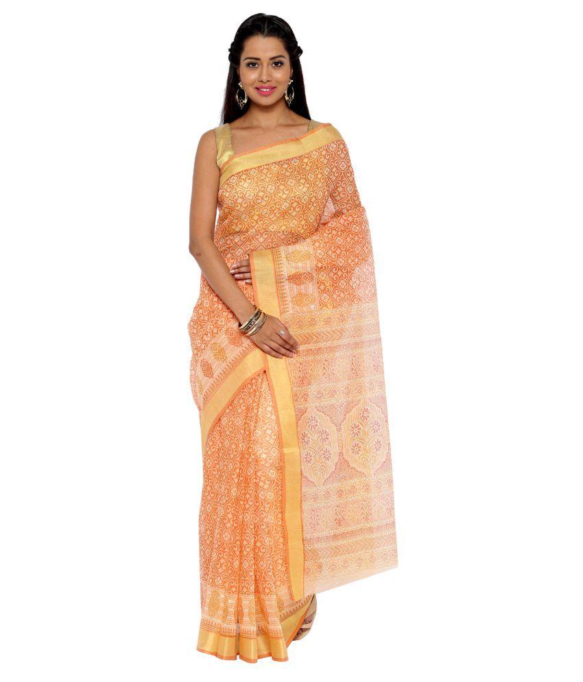 Platinum Orange Cotton Blend Saree
