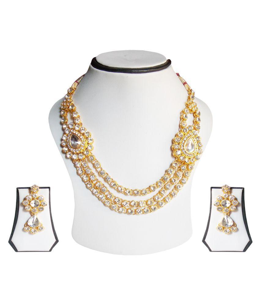 simbright white string necklace set