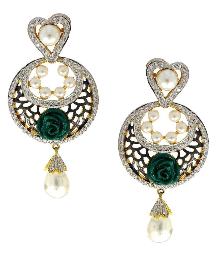 Anuradha Art Green Colour Flower Styled Wonderful Classy Party Wear Long Earrings For Women/Girls