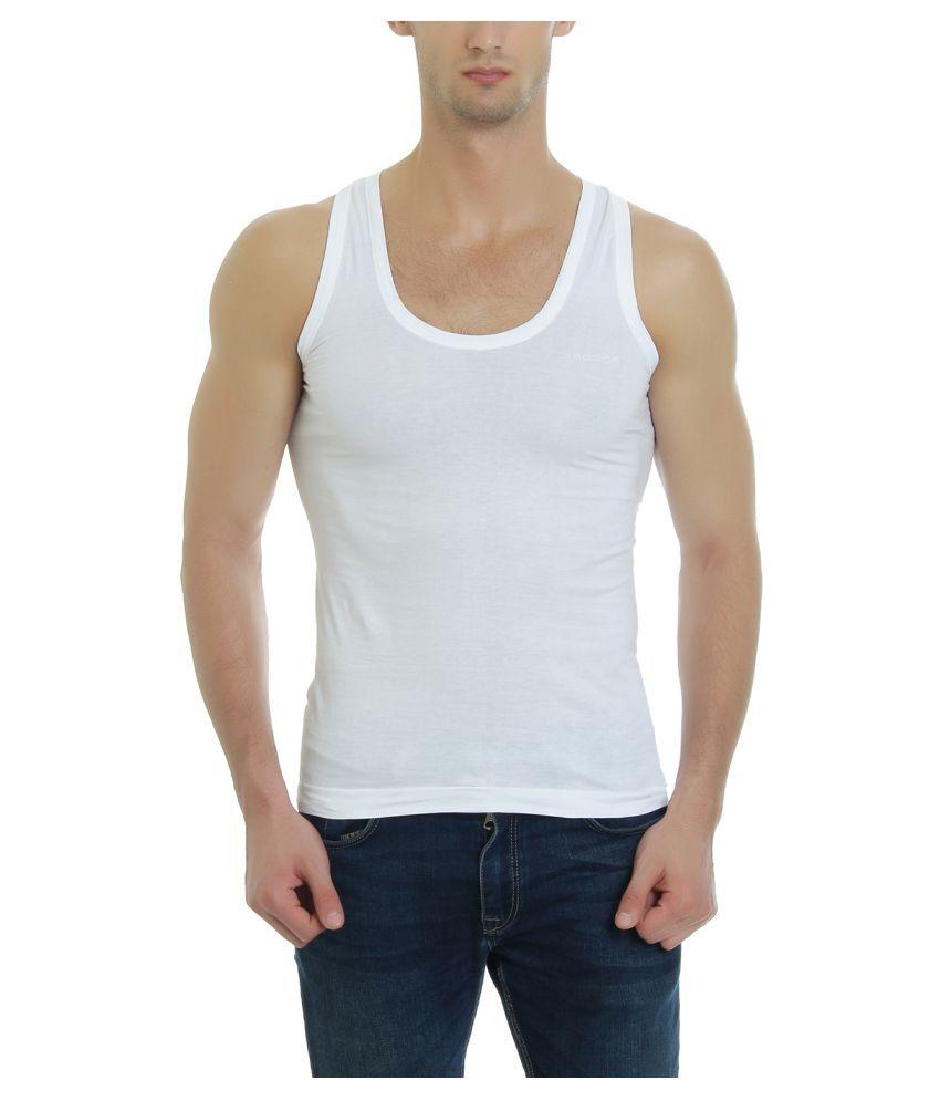 Gbros White Sleeveless Vests Single