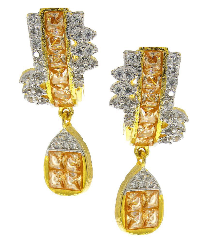 Anuradha Art Peach Colour Wonderful Studded Shimmering Wonderful Classy Party Wear Long Earrings For Women/Girls